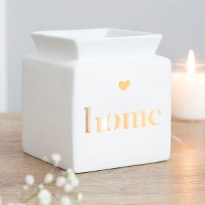 White Ceramic Oil Burner wth the words Home Cut out