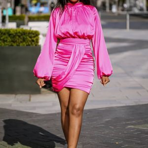 Pink Satin Blouson Dress