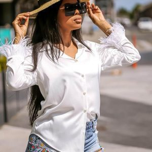 Feather Trim Blouse