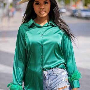 Feather_Trim_Blouse_Green