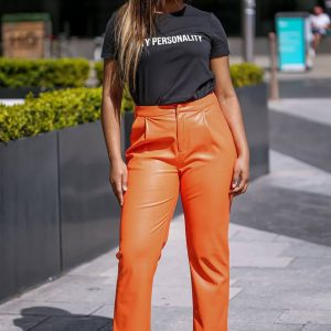 Orange Faux Leather Pants