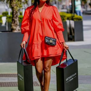 Red Poplin Dress Main Bags