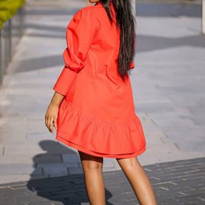 Red Poplin Dress side