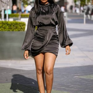 Black_Satin_Blouson_Dress