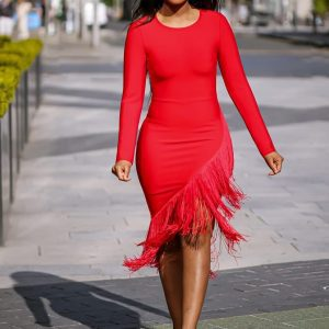 Red Fringe Bandage Dress