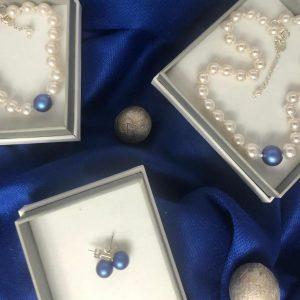 Swarovski Iridescent Dark Blue pearl jewellery set