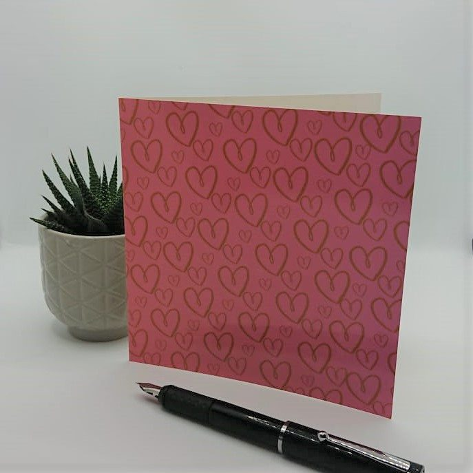 pink heart card, valentines card, greeting card by black-owned business