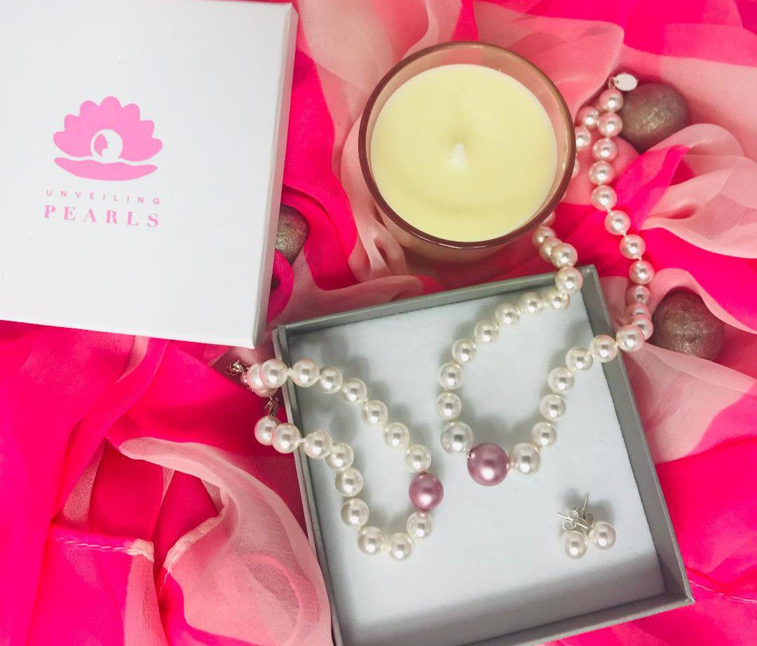 White on pink Swarovski pearl jewellery set