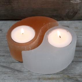 Yin Yang Orange & White Selenite Tealight Holders