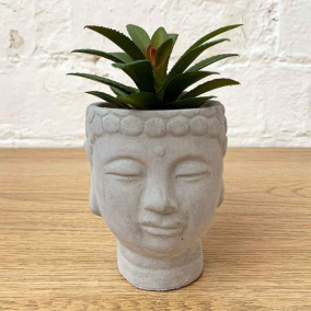 BTMR Inspired Interiors | Faux Succulent in Concrete Buddha Head| Buy 2 or more and save 20%