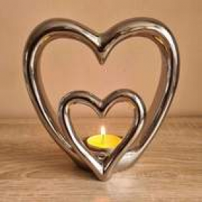 SILVER DOUBLE HEART CERAMIC TEALIGHT/CANDLE HOLDER