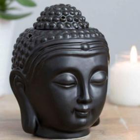 BTMR ZenDen | Small Matte Black Buddha Head Wax Melt & Oil Burner