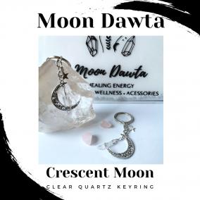 Crescent Moon Clear Quartz Keyring
