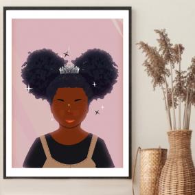 Princess Buns Wall Art – Black Girl Gift