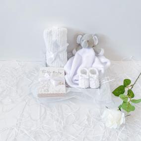 Personalised Neutral Elephant baby comforter gift set