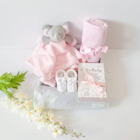 Pink Elephant baby comforter gift set