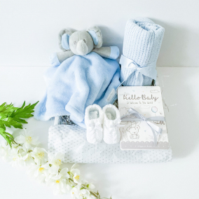 Blue Elephant baby comforter gift set