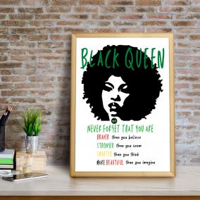 BTMR Inspired Interiors | Black Queen Motivational Print