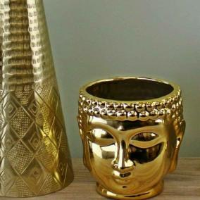 BTMR Inspired Interiors | Gold Buddha Head Plant Pot