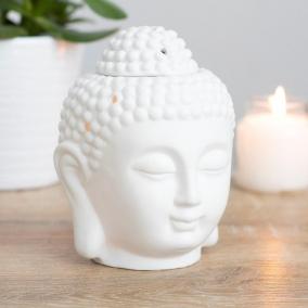 BTMR ZenDen | White Ceramic Buddha Head Wax Melt & Oil Burner | Small