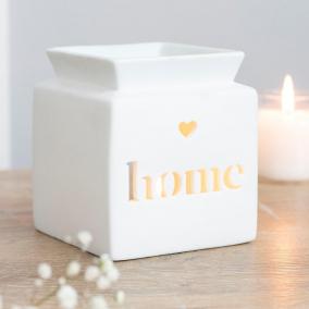 "BTMR ZenDen | White Ceramic Oil & Wax Melt Burner ""Home"""