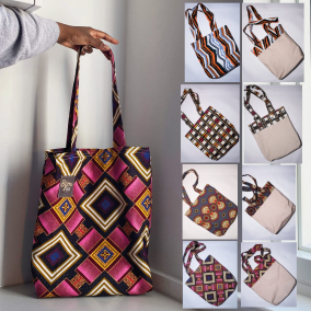 Tote Bag 100% Cotton canvas African Wax print fabric (Reversible and Double layered )