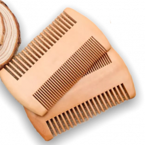 Double tooth wooden beard hair comb