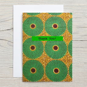 Green Print Thank You Card