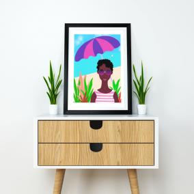 Black African Afrocentric Wall Art | Black Woman Art Print 8.3″ x 11.7″ | 'Beach Vacation' | A4 Unframed Print