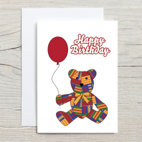 Teddy Birthday Card for Children in African Print