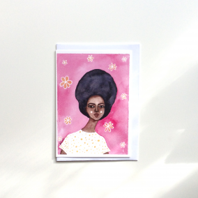Black Greeting Card 'Groovy Gold'