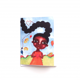 Black Greeting Card 'I Love My Hair'