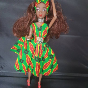 Beautiful Black African Jamaican Ethnic Doll Handmade Doll with Brown Skin and Brown Curly Hair