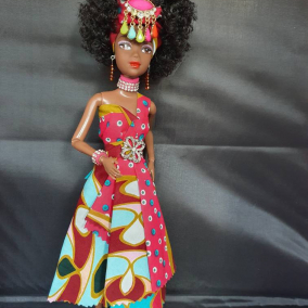 Beautiful Black African Jamaican Ethnic Doll Handmade Doll with Brown Skin and Afro Hair