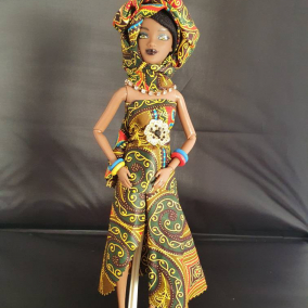 Beautiful Black African Jamaican Ethnic Customised Doll with Brown Skin and African print clothes and matching Hijab