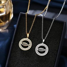 Stainless Steel Jesus Fish Crystal Rhinestone Pendant Necklace