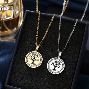 Stainless Steel Life Tree Pendant  Crystal Rhinestone Necklace
