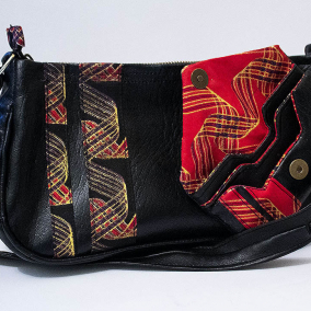 Shoulder Bag _ Handmade/ 90's style/ Y2K/ Authentic Kente, African Print / Vegan Leather