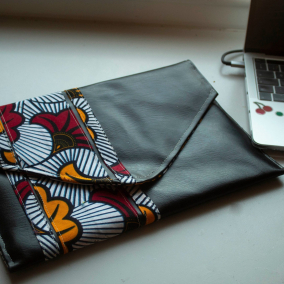 Laptop Sleeve/ Case_ Device Case (MacBook, Laptops, Tablets) with Ankara / African print Fabric (100% Cotton Wedding Flowers )