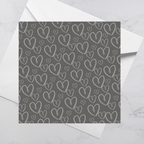 Luxury Greeting Card – Grey Hearts