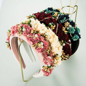 Cloth lace flower bride wedding special occasion birthday hair hoop female pearl Rhinestone sponge headband headpiece for girls and women