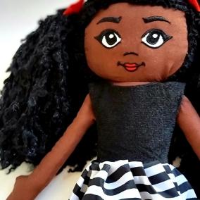Black Doll, fabric doll , Rag doll , kids gift, birthday gift, keepsake doll, heirloom doll, Collector doll, Soft doll UK