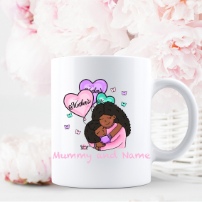 Multiple Skin shades Mother's Day Mug Personalised with child's name