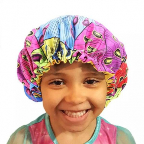 Toddler Size- African Print Double Layer Satin-lined Hair Bonnet with Adjustable Elastic Band