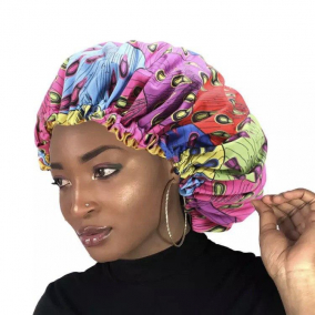 Regular Size- African Print Double Layer Satin-lined Hair Bonnet with Adjustable Elastic Band
