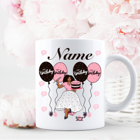 Personalised birthday mug gift two colour options