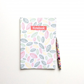 PATTERNED NOTEBOOK – 'Scattered Leaves' with Lined Pages