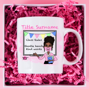 Teacher Personalised mug featuring interactive board and class rules