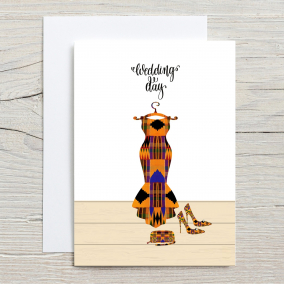 Kente Print Wedding Dress Card